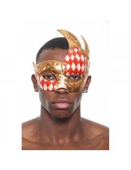 Eyemask Checkered 2 Tone Red Gold PM022RD