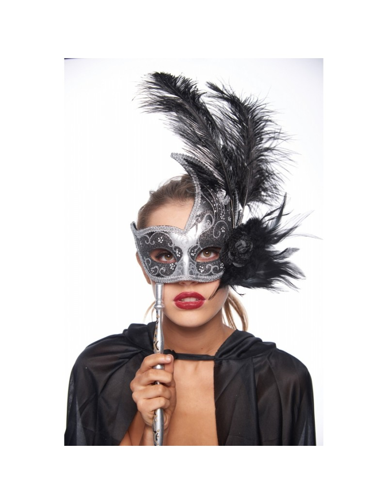 Eyemask Feathered Black And Silver With Stick