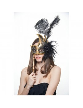 Eyemask Feathered Black And Gold With Stick FSM003BKGD