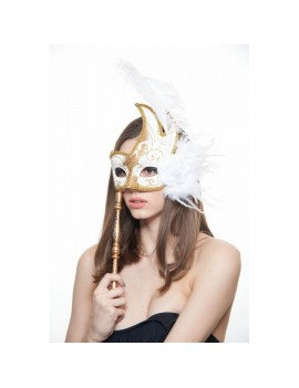 Eyemask Feathered White And Gold With Stick FSM003WHGD