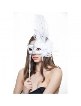 Eyemask Feathered White And Silver With Stick