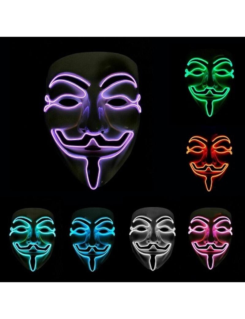 Neon Light Up V For Vendetta Mask