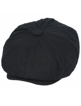 Newsboy 8 Panel Cap Black