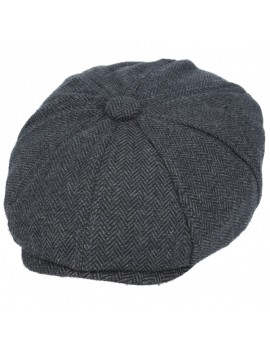 Newsboy 8 Panel Herringbone Cap Charcoal Grey