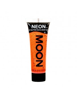 Moon Glow neon UV glitter face and body gel orange M70
