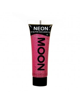 Moon Glow neon UV glitter face and body gel ruby red M70