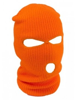 Neon Orange 3 Hole Ski Mask