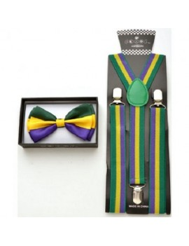 Bow Tie And Braces Set Mardi Gras