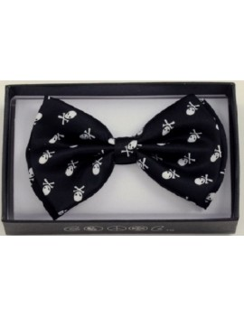 Bow Tie Skull And Crossbones Black White