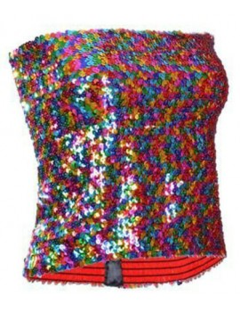 Rainbow Sequin Strapless Top