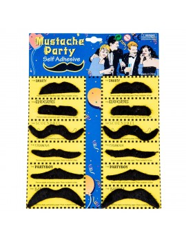 Assorted Black Moustaches Pack Of 12