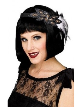 1920s Flapper Beaded Headband Black And Grey