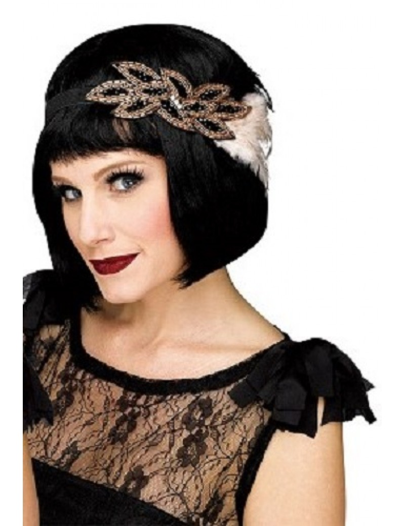1920s Flapper Beaded Headband Black And Gold