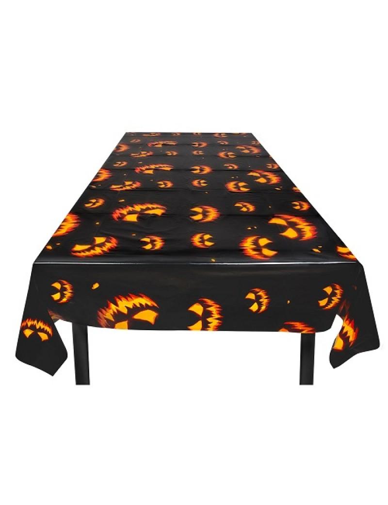 Creepy Pumpkin Plastic Tablecloth