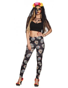 Mexican Day Of The Dead Skull Stretch Leggings Boland 87863