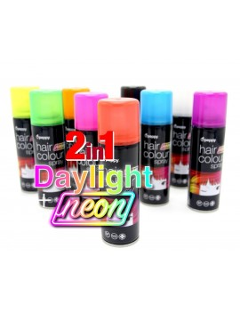 Neon UV coloured hair spray white Peppy