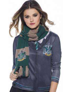 Harry Potter Deluxe Slytherin Scarf With House Badge Rubies 39034