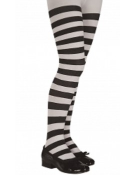 Black And White Stripy Hoop Tights