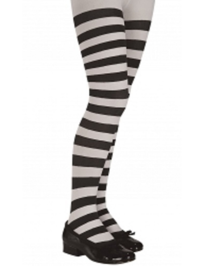 Black And White Striped Kids Tights