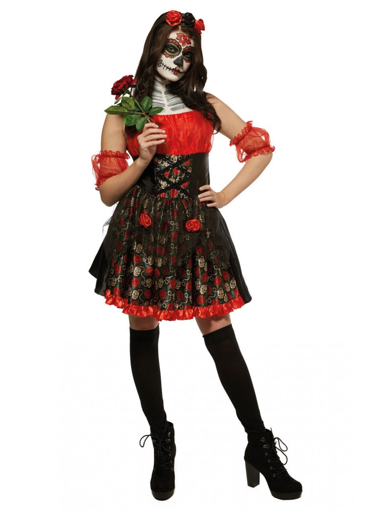 Red Rose Day Of The Dead Adult Costume Rubies 820473