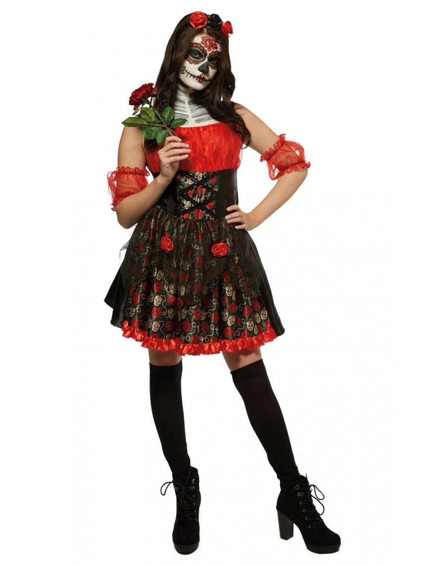 day of the dead halloween costume-skeleton fancy dress costume