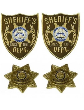 Kings County Sherrif Star Pin Badges And Patches Set