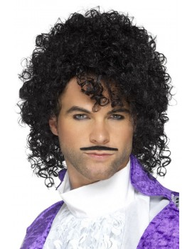 80s Purple Musican Kit Prince Wig Moustache Black Smiffys 48005