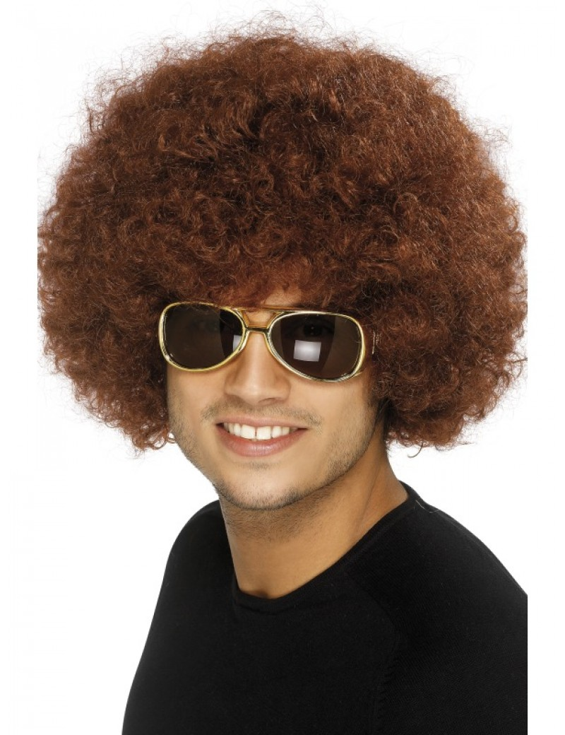 70s funky afro wig brown Smiffys 42016