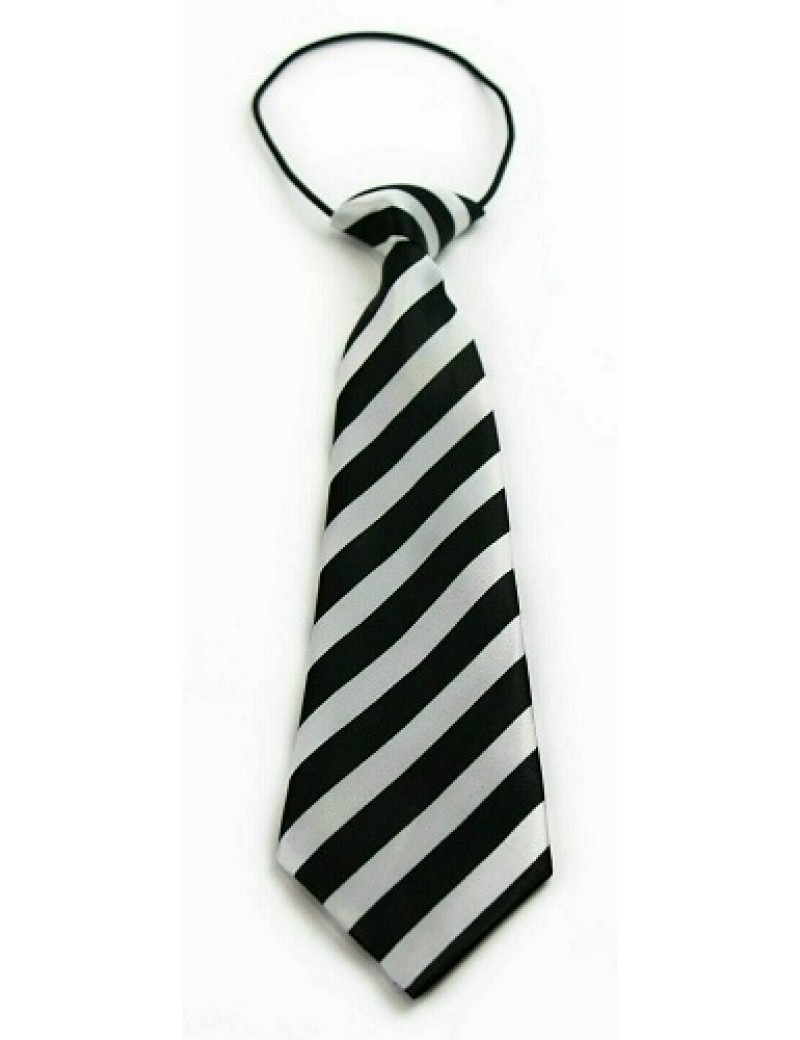 Black And White Striped Elasticated Tie