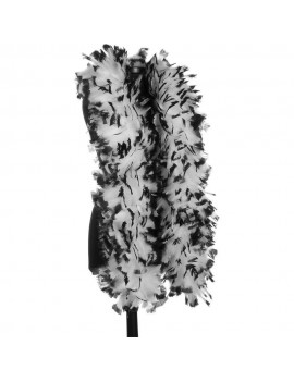 Feather Boa White Black Tips Stylex Party ST4971