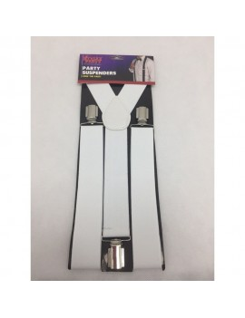 Braces White Clip On Suspenders