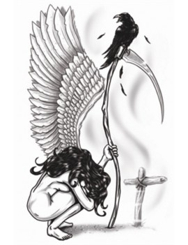 Gothic Angel Of Death Temporary Tattoo Tinsley Transfers GTH-201