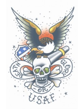 Military U.S.A.F Death Or Glory Temporary Tattoo