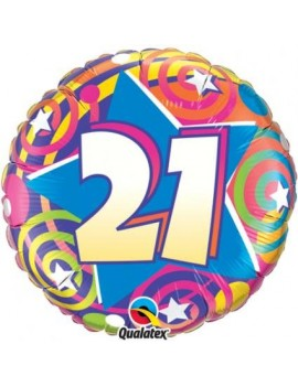 Foil Helium Happy 21st Birthday Balloon Q87138