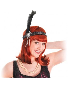 1920s Feathered Headband Black Palmer Agencies 4280A
