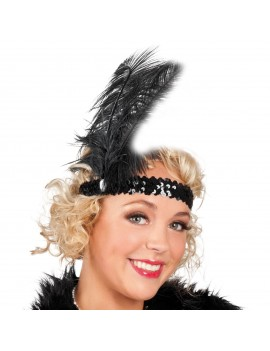 1920s flapper Gatsby party accessory Black sequin ladies girls headband headdress 70472