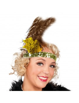 1920s Feathered Headband Gold Sequin 70471