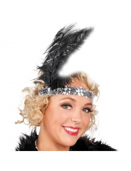 1920s flapper Gatsby party accessory Silver sequin ladies girls headband headdress 70470