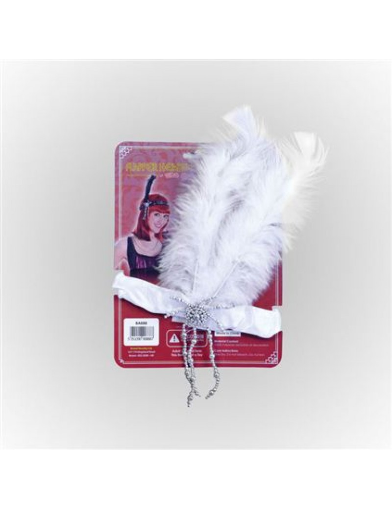 1920s flapper ladies headdress satin white fancy dress costume Gatsby party accessory Bristol Novelty BA888