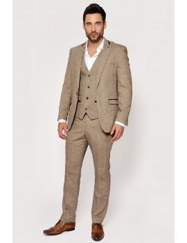 1920s Peaky Blinders style Mason 3 piece tan tweed  mens Goodwood 1940s suit hire Marc Darcy XL