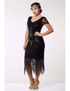 1920s Gatsby black gold beaded evening dress Anette