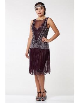1920s Gatsby plum silver sequin evening dress Elaina