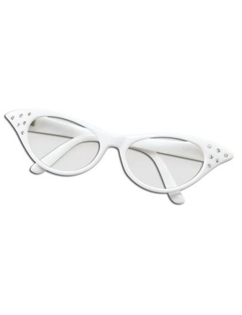 1950s Diamante White Glasses