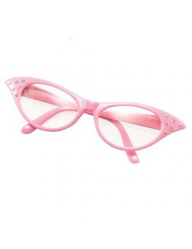 1950s Grease ladies theatrical fancy dress prop  glasses diamonte pink Bristol Novelty BA142P