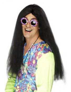1960s hippy fringeless mens Ozzie Osborne fancy dress costume popstar party cousin it wig black Smiffys 42185