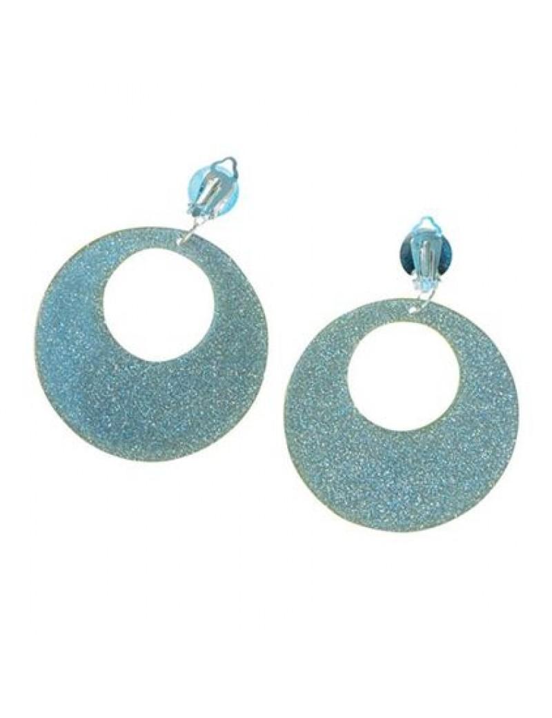 60s Earrings Silver Glitter