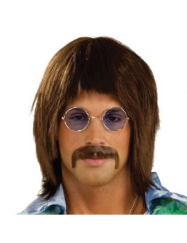 1960s Sgt Pepper Beatles Sonny retro fancy dress costume party mens wig brown Bristol Novelty BW689