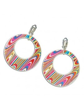 1960s Earrings Multi Swirl Pink Bristol Novelty BA1085