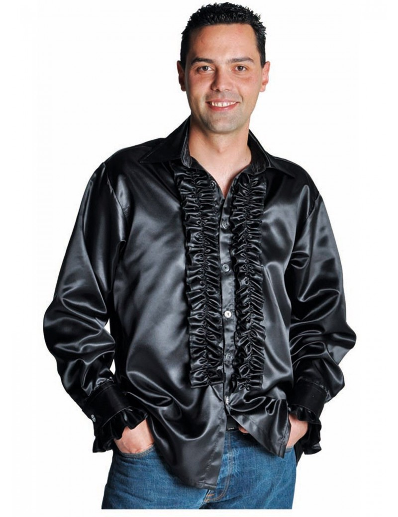 1970s Frilled satin Black mens 70s shirt fancy dress party costume accessory Magic By Freddys AC10B