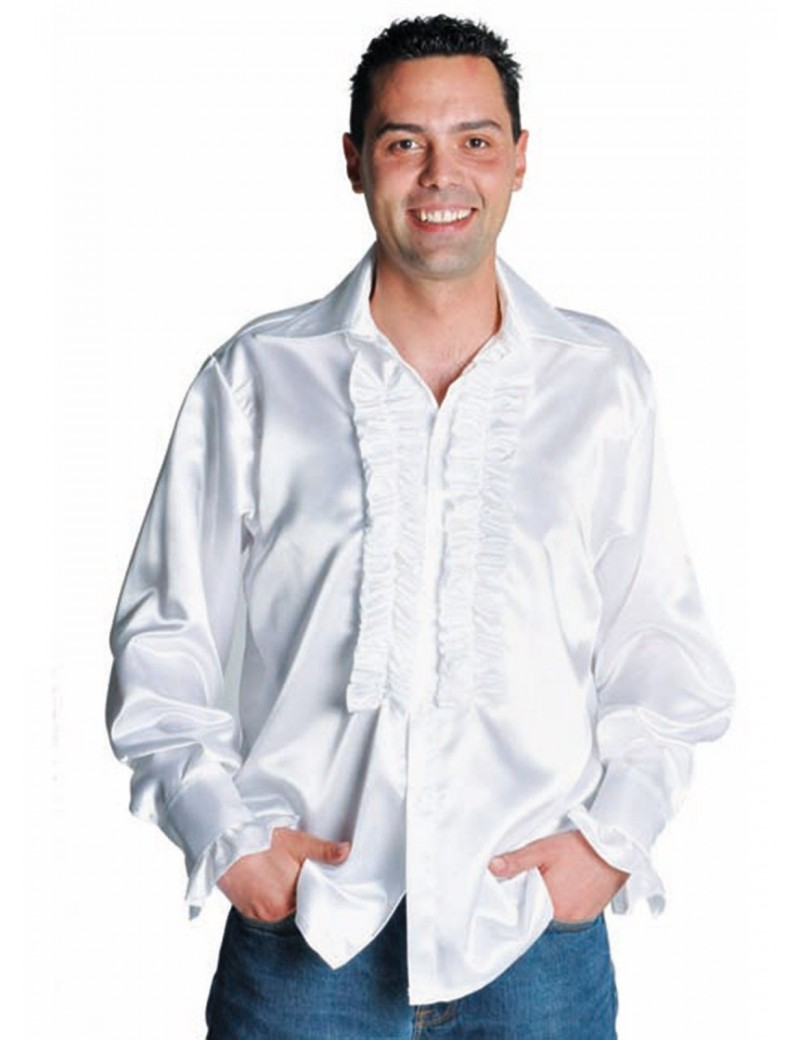 1970s Frilled satin White mens 70s shirt fancy dress party costume accessory Magic By Freddys AC16A